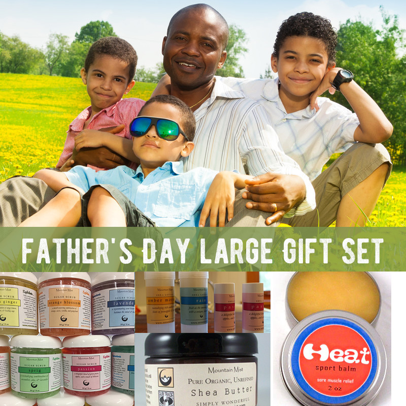 Father's Day large Gift Set (heat sport balm tin, 2 oz solid lotion, shea butter, sugar scrub)