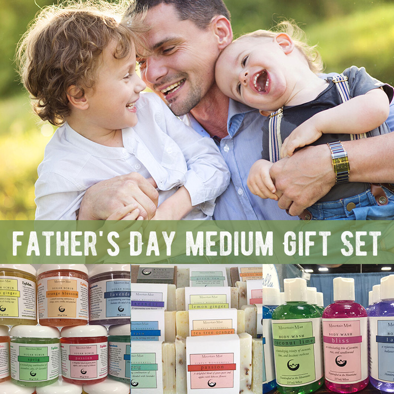 Father's Day medium Gift Set (body wash, sugar scrub, 2 bars of handmade shea soap)