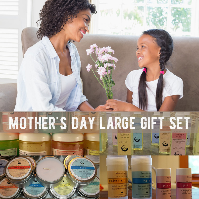 Mother's Day large Gift Set (sugar scrub, dry oil, soy candle, 2 oz solid lotion)