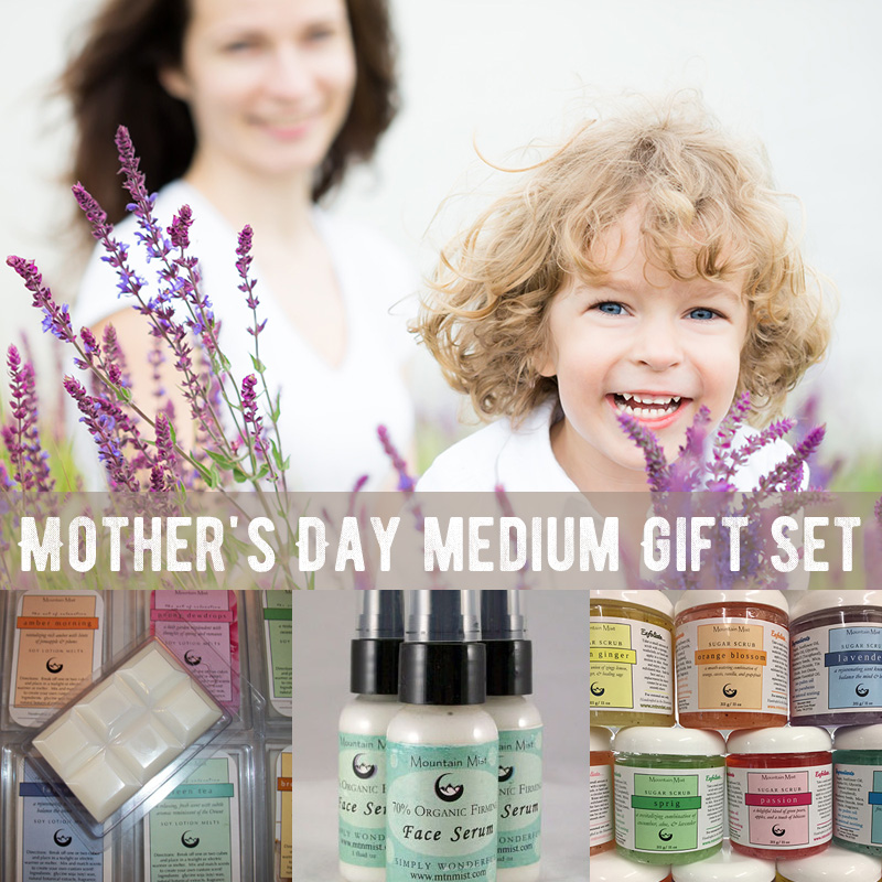 Mother's Day medium Gift Set (sugar scrub, facial serum, 2 soy lotion melts)