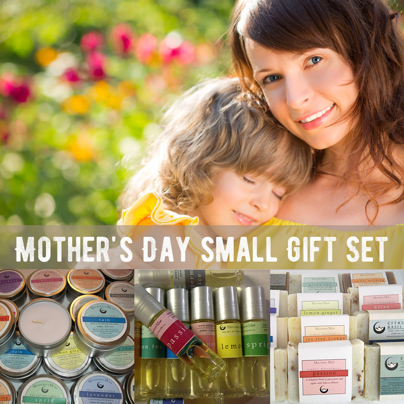 Mother's Day small Gift Set (roll-on perfume, soy candle, shea soap bar)